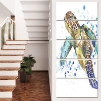 Designart 'Blue Sea Turtle Illustration' Animal Artwork on Canvas
