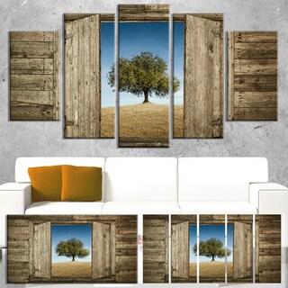 Designart 'Window Open To Solitary Tree' Modern Landscape Canvas Art - Brown