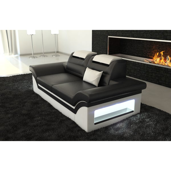 Shop SofaDreams Leather 2 Seater Sectional U0027Chicagou0027 Sofa With LED Lighting    Free Shipping Today   Overstock.com   13250888