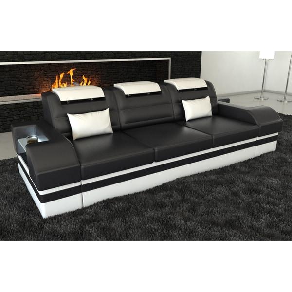 3 Seat Leather Sofa San Francisco Led Lights