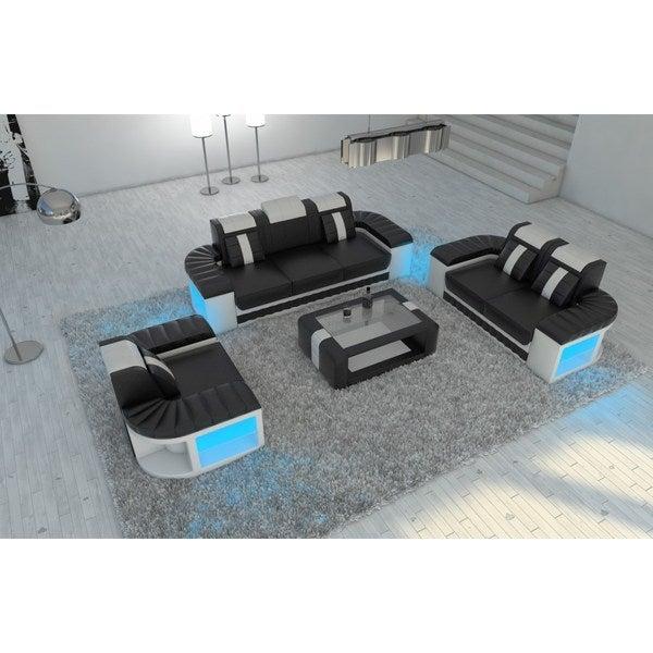 Shop Leather Sectional Sofa Set Boston 3-2-1 LED Lights - Free ...