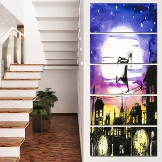 Designart 'Sleepwalker in Moonlight' Canvas Artwork' 28x60' 5 Panels