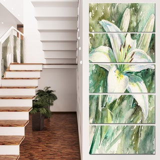 Designart 'Large White Lily Painting' Floral Wall Artwork on Canvas