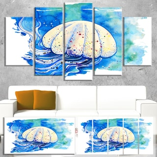 Designart 'Jellyfish Watercolor Painting' Animal Wall Art Print