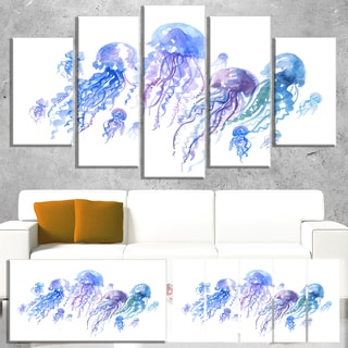 Designart 'Blue Purple Jellyfish Group' Animal Wall Art Print