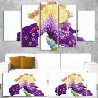 Designart 'Blooming Blue Yellow Iris' Floral Wall Artwork on Canvas