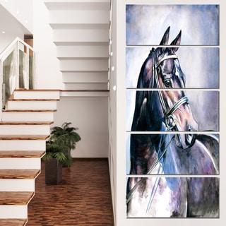 Designart 'Black Horse with Bridle' Animal Wall Art Print