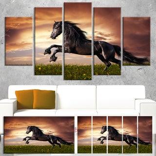 Designart 'Black Friesian Horse Gallop' Animal Wall Art Print