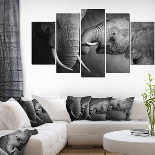 Designart 'Elephants Showing Affection' Animal Wall Art Print