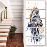Designart 'Zebra Family Illustration Watercolor' Contemporary Animal Art Canvas