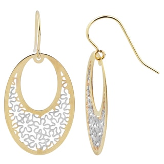 Fremada 14k Two-tone Gold Floral Oval Dangle Earrings