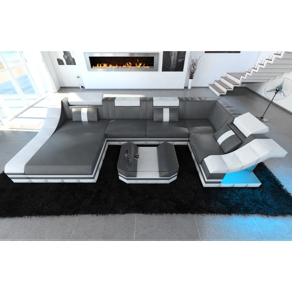 Design Sectional Sofa New York U Shape LED Lights