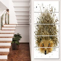 Designart 'Hedgehog Illustration Watercolor' Contemporary Animal Art Canvas