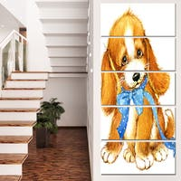 Designart 'Lovely Puppy Dog Watercolor' Contemporary Animal Art Canvas