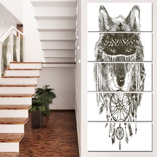 Designart 'Funny indian Wolf Warrior Watercolor' Contemporary Animal Art Canvas