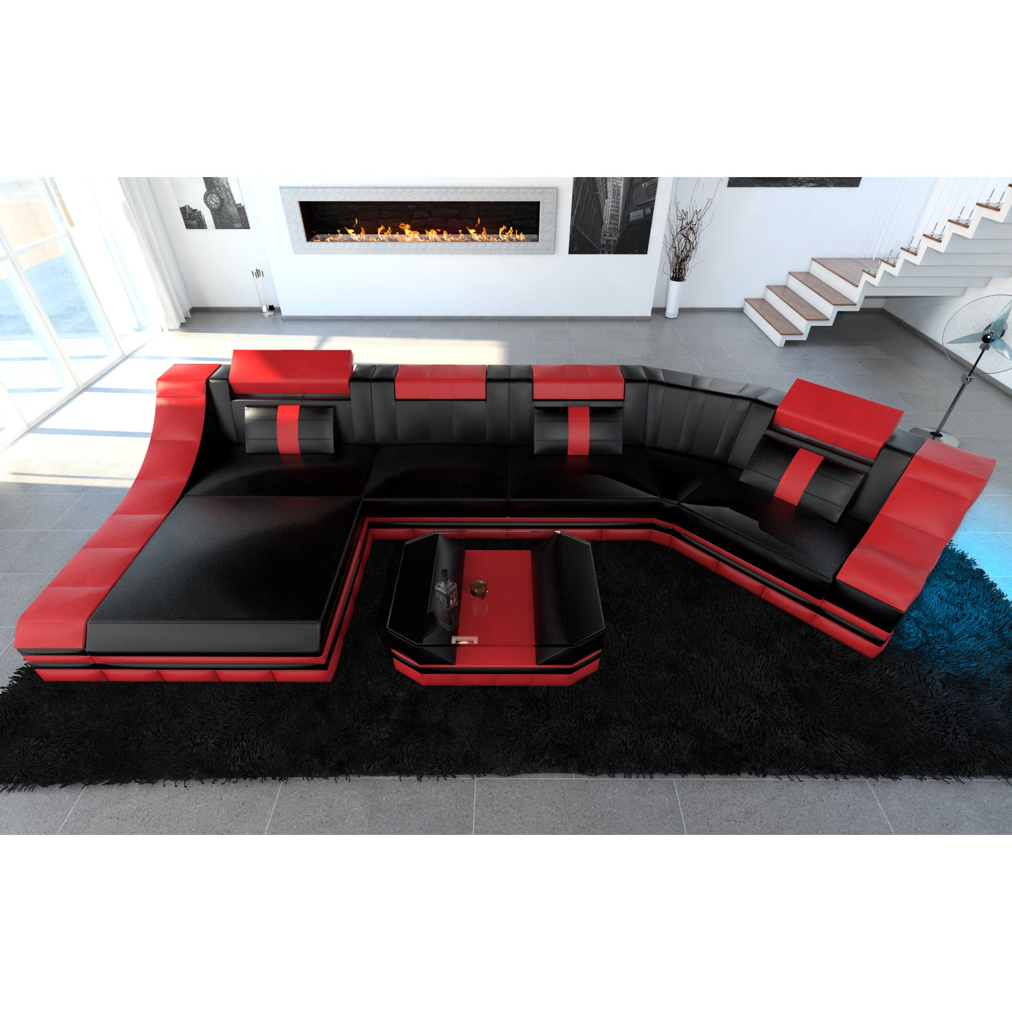 Luxury Sectional Sofa New York C Shape LED Lights