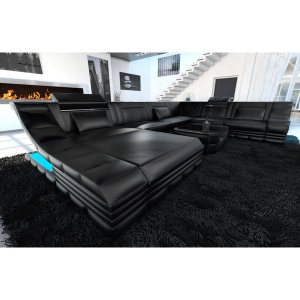 Shop Luxury Sectional Sofa New York XL LED Lights - Free Shipping ...