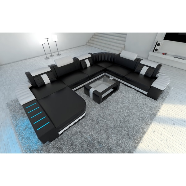 Shop XXL Sectional Sofa Boston LED Lights U Shaped