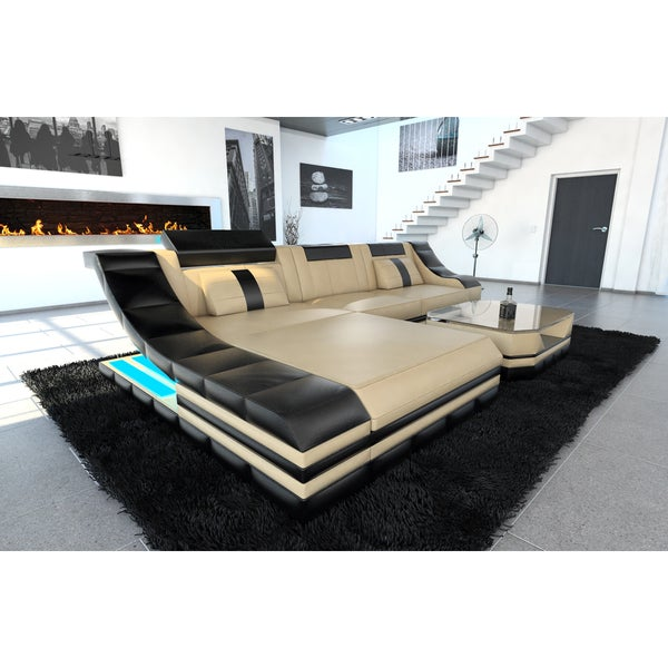 New York LED Lights Beige Leather L Shaped Sectional Sofa