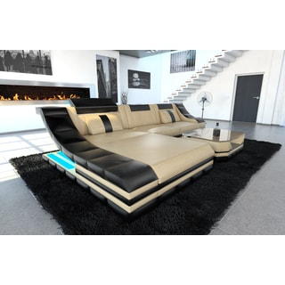 New York LED Lights Beige Leather L-Shaped Sectional Sofa