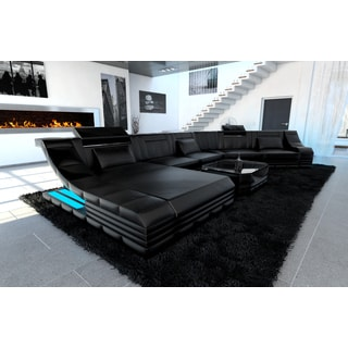 Luxury Sectional Sofa New York CL LED Lights  sc 1 st  Overstock.com : black and grey microfiber sectional - Sectionals, Sofas & Couches