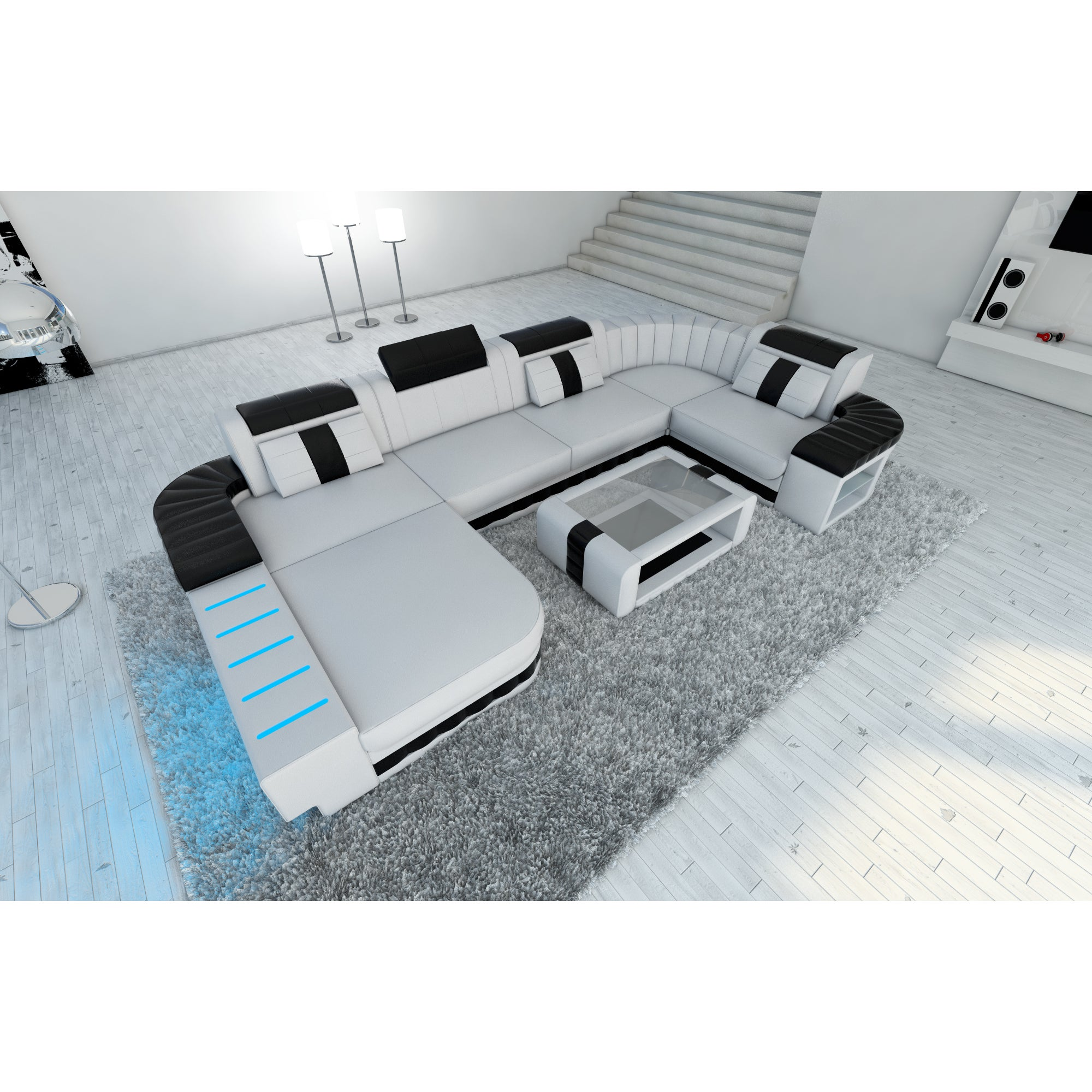 Fine Boston Led Lights White Leather U Shaped Sectional Sofa Pabps2019 Chair Design Images Pabps2019Com