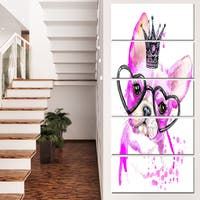 Designart 'Cute Pink Dog with Heart Glasses' Contemporary Animal Art Canvas