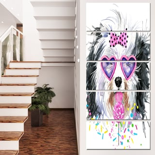 Designart 'Lovely Dog with Pink Heart Glasses' Contemporary Animal Art Canvas