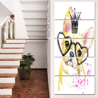 Designart 'Funny Dog with Large Glasses' Contemporary Animal Art Canvas