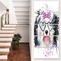 Designart 'Cute Dog with Heart Glasses' Contemporary Animal Art Canvas