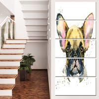 Designart 'Watercolor Brown Dog Illustration' Contemporary Animal Art Canvas