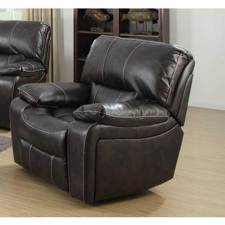 Silverado Contemporary Dark Brown Leather Rocker Recliner Chair