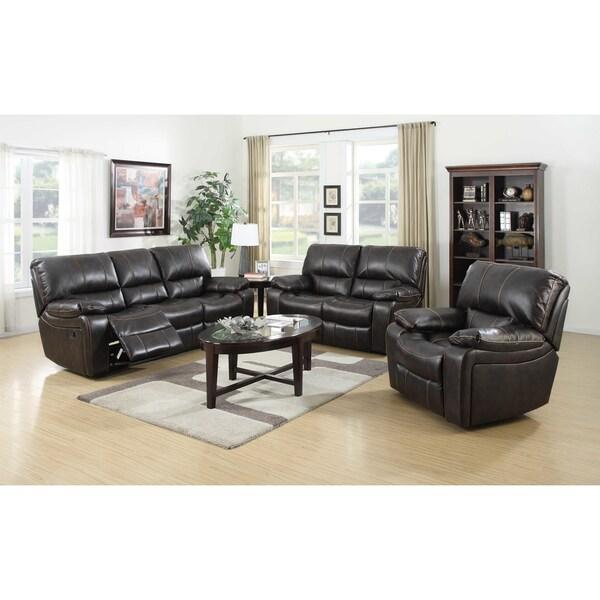 Silverado Dark Brown Leather 3 Piece Recliner Sofa Living Room Set