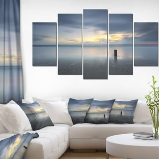 Designart 'Stormy and Dark Sea Sunset' Seashore Canvas Wall Artwork