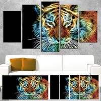 Designart 'Illuminating Tiger Head View' Contemporary Animal Art Canvas