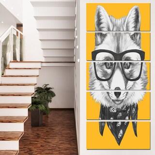 Designart 'Funny Fox with Formal Glasses' Contemporary Animal Art Canvas