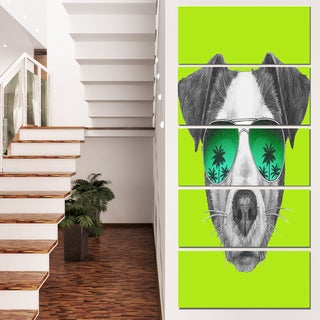 Designart 'Jack Russell in Green Glasses' Contemporary Animal Art Canvas
