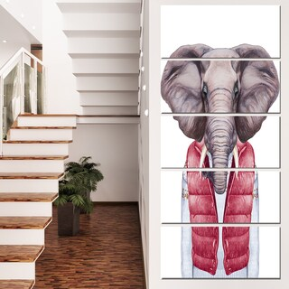 Designart 'Elephant in Vest and Sweater' Contemporary Animal Art Canvas