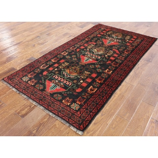 Persian Balouch Oriental Black Wool On Wool Hand-knotted Area Rug (3'9 x 6'9)