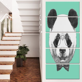 Designart 'Panda with Glasses and Bow Tie' Large Animal Wall Artwork