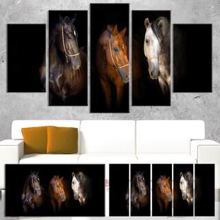 Designart 'Three Horses with Golden Bridle' Large Animal Wall Artwork - Gold
