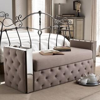 Baxton Studio Kleitos Modern Beige Linen Tufted Storage Bench