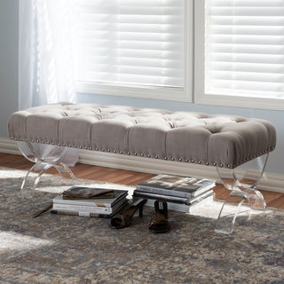 Baxton Studio Eupraxia Modern and Contemporary Fabric Upholstered Button-Tufted Ottoman Bench with Acrylic Legs