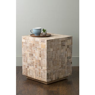 East At Main's Rosalee Off-White Mosaic Wood Square Accent Table