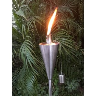 Tiki Torch Outdoor Garden Oil Lamp Lanterns with Decorative Stainless Steel Canister and Stand Stake (Set of 2)