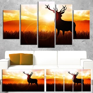 Designart 'Deer on Meadow During Sunrise' Large Animal Wall Artwork