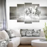 Designart 'Horses Running Through Water' Oversized Animal Wall Art - White
