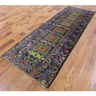 Persian Balouch Blue Wool-on-wool Hand-knotted Oriental Runner Rug (3' x 8'11)