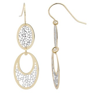 Fremada 14k Two-tone Gold Floral Ovals Dangle Earrings