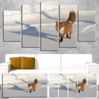 Designart 'Brown Winter Cat with Footprints' Oversized Animal Wall Art